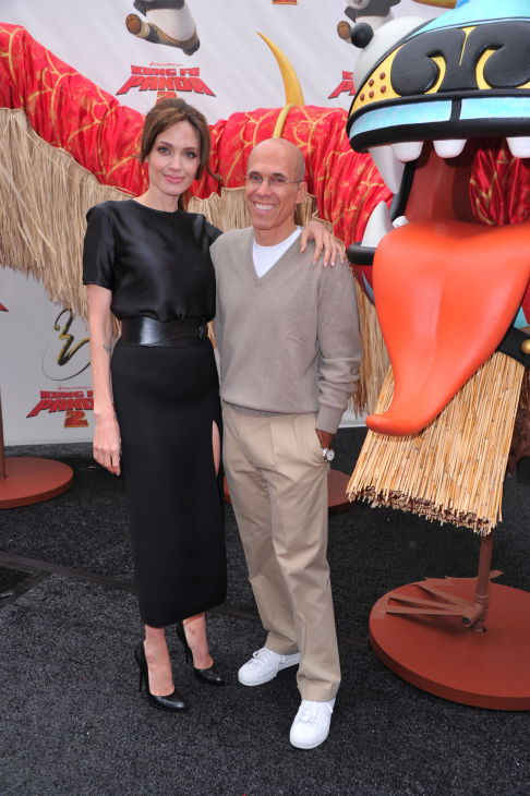 Actors Angelina Jolie and CEO of Dreamworks Animation Jeffrey Katzenberg arrive at DreamWorks Animation's 'Kung Fu Panda 2' Los Angeles Premiere held at Grauman's Chinese Theatre on May 22, 2011 in Hollywood, California.