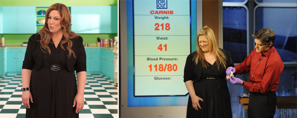 Carnie Wilson, of the band &#39;Wilson Phillips&#39; has always struggled with her weight and enlisted the help of Dr. Mehmet Oz in February 2010.  Wilson weighed over 300lbs before undergoing gastric bypass surgery in 1999, in which she lost 150 lbs.  However, during her last pregnancy, she gained 61 lbs and weighed more than 210 lbs. In late November, it was reported that she was dropped as the spokesperson for The Fresh Diet company. &#40; Pictured: Carnie Wilson in her reality TV series &#39;Carnie Wilson: Unstapled&#39; and an appearance on &#39;Dr. Oz.&#39;&#41; <span class=meta>(World of Wonder and Harpo Productions)</span>
