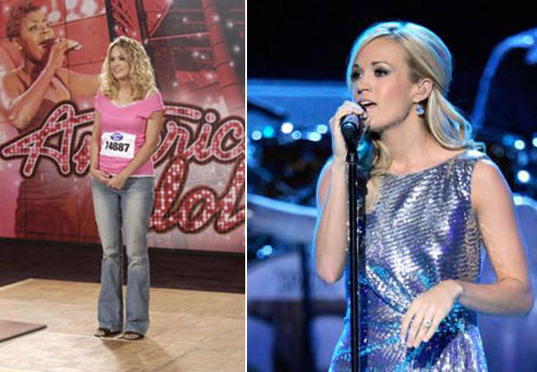 Since winning 'American Idol' in 2005, Carrie Underwood slimmed down and lost 20 lbs. (Pictured: Carrie Underwood during her first on-screen 'American Idol' audition / Carrie Underwood in an undated 2010 photo posted on her website.)