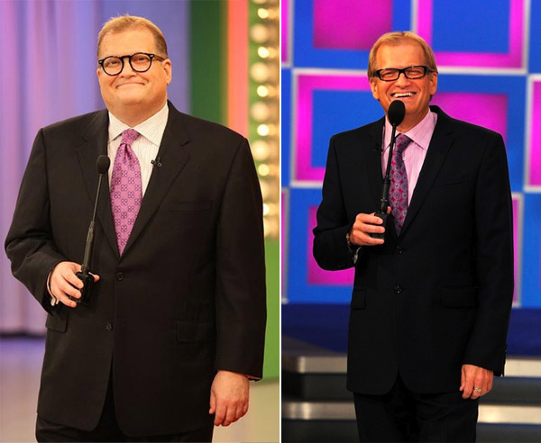 &#39;Price is Right&#39; host, Drew Carey reported lost 80 lbs. and debuted his new body on the 2010 season kick off of his show in September 2010.  Carey lost the weight by dieting and exercising.  He cut back on carbs, ate fruit, drank lots of water and even lost his type-2 diabetes. &#40;Pictured: Drew Carey on &#39;The Price is Right&#39; in 2009 and in 2010&#41; <span class=meta>(Price Productions)</span>