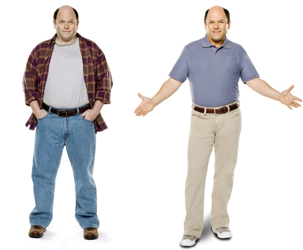 George Costanza is the latest spokesman for Jenny Craig.  &#39;Seinfeld&#39; alum Jason Alexander shed 30 lbs on Jenny Craig and said goodbye to Twinkies.  He went from eating 4,500 calories a day to a 1,500 calorie meal plan and eats lots of fresh fruit and veggies. &#40;Pictured: Jason Alexander in a 2010 photo provided by Jenny Craig&#41; <span class=meta>(Jenny Craig)</span>