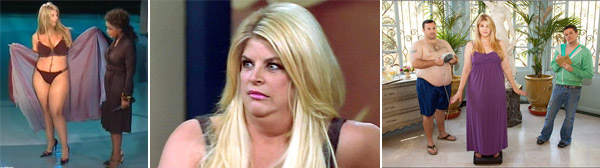 Kirstie Alley has struggled constantly with being overweight and has poked fun at the issue on her own television shows. Alley launched her own diet plan called Organic Liaison earlier this year. She said last year that she had regained weight she had lost under the Jenny Craig program and weighed 230 pounds. She said in September 2010 that she has lost more than 50 pounds and planned on dropping 30 more. &#40;Pictured: Kirstie Alley showcases her bikini body on &#39;The Oprah Winfrey Show&#39; in 2006 &#47; Kirstie Alley appears on &#39;Kirstie Alley&#39;s Big Life&#39; on A and E in 2010.&#41; <span class=meta>(Harpo Productions and A and E Television Networks)</span>