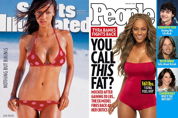 "<div class=""meta ""><span class=""caption-text "">After the tabloids published an unflattering photo of Tyra Banks in a bathing suit in 2007, Tyra Banks reached out to People magazine to talk about her weight gain.  At 5'10'', Banks weighs 161 lbs. about 30 lbs. heavier than when she posed for Sports Illustrated in 1997.  She told People magazine: 'I still feel hot, but every day is different. It's when I put on the jeans that used to fit a year ago and don't fit now and give me the muffin top, that's when I say, damn!'. (Pictured: Tyra Banks on the cover of Sports Illustrated in 1997 / Tyra Banks on the cover of People magazine in February 2007.) (Sports Illustrated and People)</span></div>"