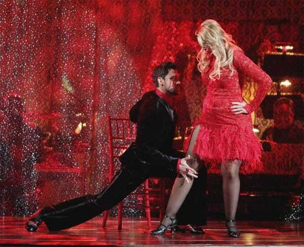 "<div class=""meta ""><span class=""caption-text "">Kirstie Alley and her partner Maksim Chmerkovskiy dance an Argentine Tango and a Salsa on week eight of 'Dancing With The Stars.' The judges gave the couple 28 out of 30 for their Argentine Tango and 25 points out of 30 for their Salsa. The couple earned a total of 53 out of 60. (ABC/ Adam Taylor)</span></div>"