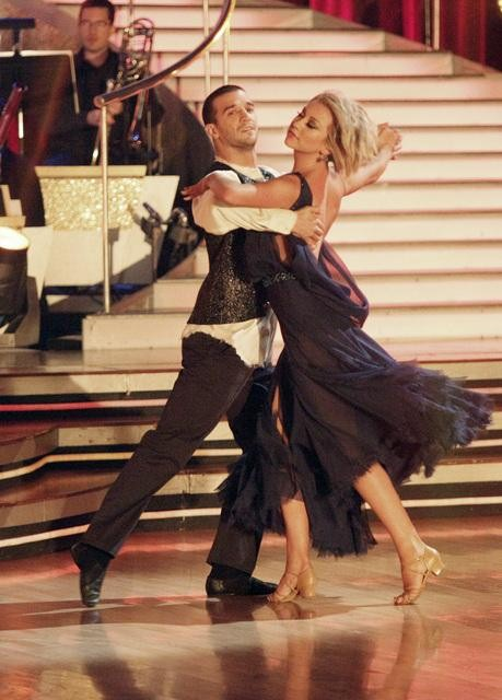 Chelsea Kane and her partner Mark Ballas dance a Waltz and a Salsa on week eight of 'Dancing With The Stars.' The judges gave the couple 29 out of 30 for their Waltz and 26 points out of 30 for their Salsa. The couple earned a total of 55 out of 60.