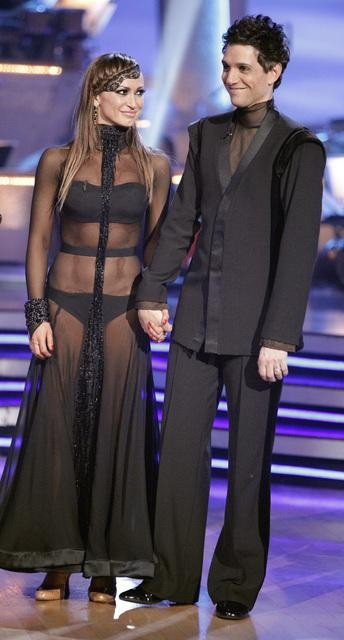 "<div class=""meta ""><span class=""caption-text "">Ralph Macchio and his partner Karina Smirnoff dance an Argentine Tango and a Cha Cha on week eight of 'Dancing With The Stars.' The judges gave the couple 25 out of 30 for their Argentine Tango and 21 points out of 30 for their Cha Cha. The couple earned a total of 56 out of 60. (ABC/ Adam Taylor)</span></div>"