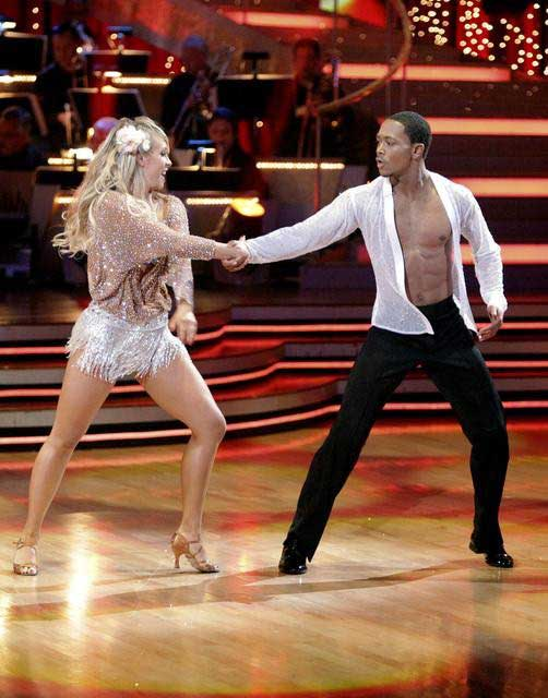 Romeo and his partner Chelsie Hightower dance a Tango and a Salsa on week eigh