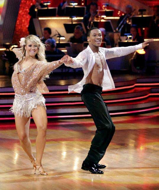 "<div class=""meta ""><span class=""caption-text "">Romeo and his partner Chelsie Hightower dance a Tango and a Salsa on week eight of 'Dancing With The Stars.' The judges gave the couple 27 out of 30 for their Argentine Tango and 25 points out of 30 for their Salsa. The couple earned a total of 52 out of 60. (ABC/ Adam Taylor)</span></div>"