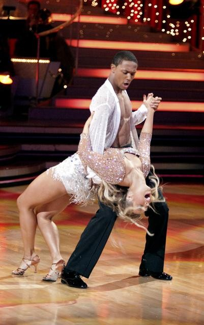 Romeo and his partner Chelsie Hightower dance