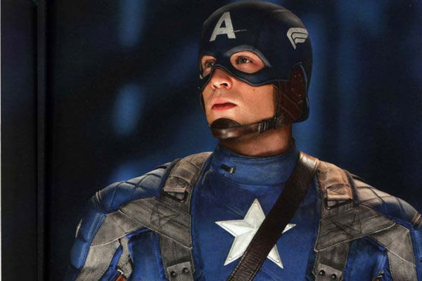 Chris Evans dons the 'Captain America' suit...