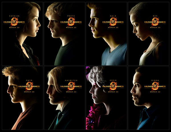 Jennifer Lawrence, Josh Hutcherson, Liam Hemsworth, Amandla Stenberg, Alexander Ludwig, Woody Harrelson, Elizabeth Banks and Lenny Kravitz appear in the official posters for 'The Hunger Games,' which is slated for release on March 23, 2012.