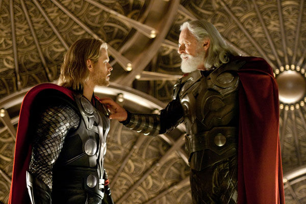Chris Hemsworth appears as superhero and god of thunder Thor opposite and Anthony Hopkins as Thor's father Odin in the 2011 film 'Thor.' Hemsworth is set to reprise his role in the 2012 film 'The Avengers.'