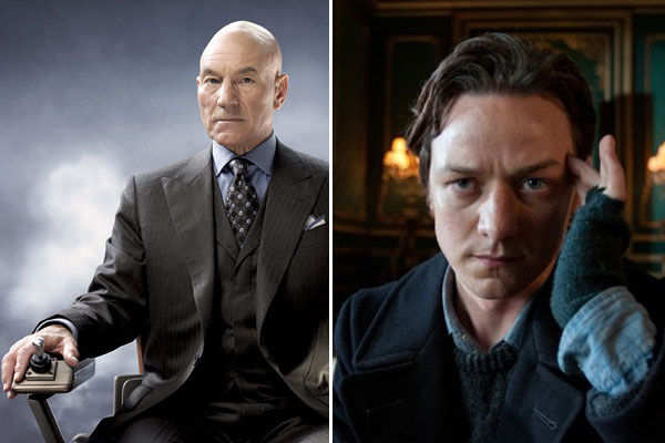 Left: Patrick Stewart in a promotional photo for the 2006 film 'X-Men: The Last Stand.' Right: James McAvoy in 'X-Men: First Class.'