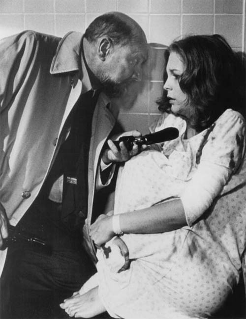 Donald Pleasence and Jamie Lee Curtis appear in a scene from the 1981 movie, 'Halloween II.'