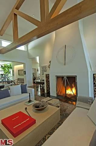 A view of a fireplace in the $49 million Beverly...