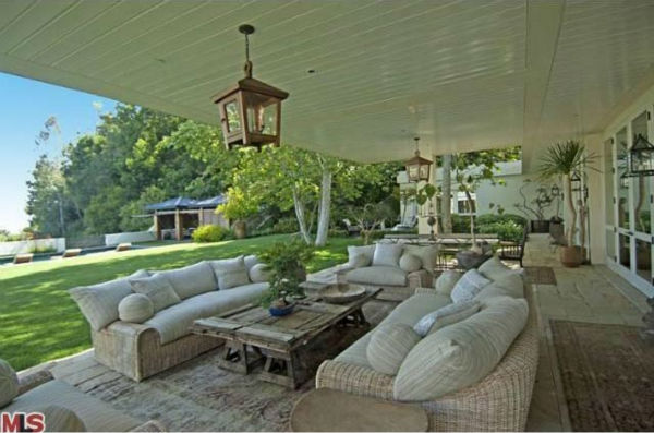 A view of a patio in the $49 million Beverly...