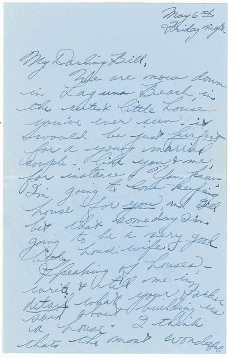 A love letter from a 17-year-old Elizabeth Taylor to William Pawley Jr., 28, in 1949. Pawley was Taylor's first fiancee but the two split before ever tying the knot. The letters were sold at an auction on May 19 for $47,652.