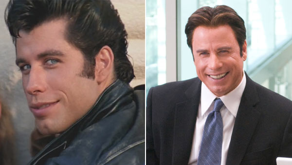 Travolta in 'Grease' on the left, the actor in the 2009 film 'Old Dogs' on the right.