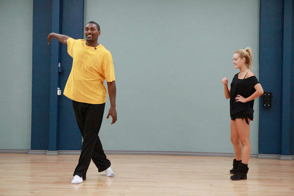 Los Angeles Laker Ron Artest and partner Peta Murgatroyd appear in a rehearsal photo for season 13 of 'Dancing With the Stars.'