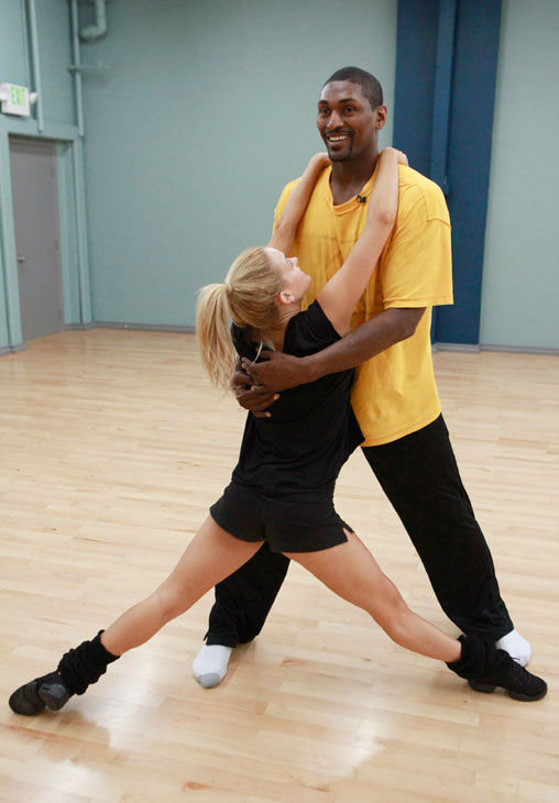 Los Angeles Laker Ron Artest and partner Peta Murgatroyd appear in a rehearsal photo for season 13 of &#39;Dancing With the Stars.&#39; <span class=meta>(ABC Photo&#47; Greg Zabilski)</span>