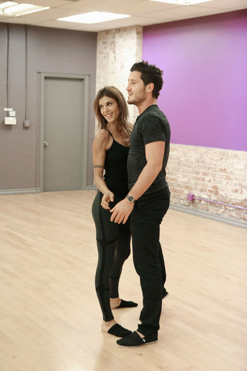 Italian actress and George Clooney's ex-girlfriend Elisabetta Canalis and partner Val Chmerkovskiy appear in a rehearsal photo for season 13 of 'Dancing With the Stars.'