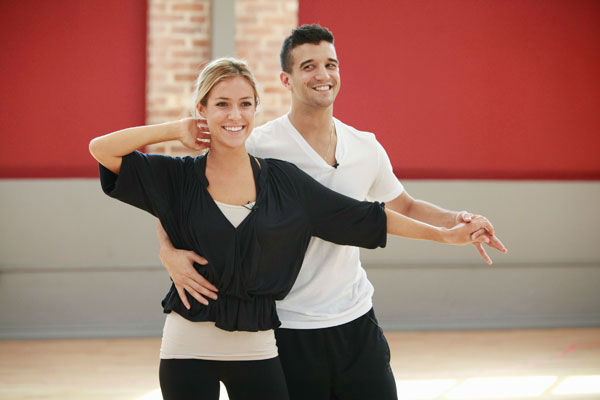 Reality star Kristin Cavallari and partner Mark Ballas appear in a rehearsal photo for season 13 of 'Dancing With the Stars.'