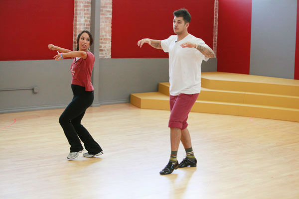 "<div class=""meta ""><span class=""caption-text "">Rob Kardashian and Cheryl Burke appear in a rehearsal photo for season 13 of 'Dancing With the Stars.' (ABC Photo/ Greg Zabilski)</span></div>"
