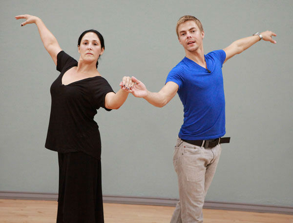 Actress and talk show host Ricki Lake and partner Derek Hough appear in a rehearsal photo for season 13 of 'Dancing With the Stars.'