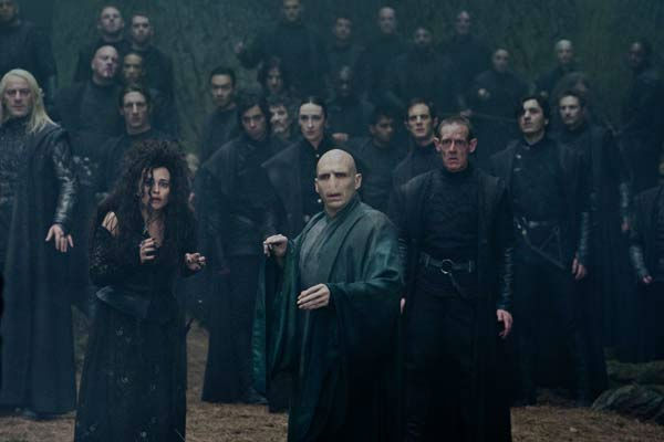 &#40;L-r&#41; JASON ISAACS as Lucius Malfoy, HELENA BONHAM CARTER as Bellatrix Lestrange and RALPH FIENNES as Lord Voldemort in a scene from the 2011 film, &#39;Harry Potter and the Deathly Hallows: Part 2.&#39; <span class=meta>(Photo&#47;Courtesy of Warner Bros. Pictures)</span>