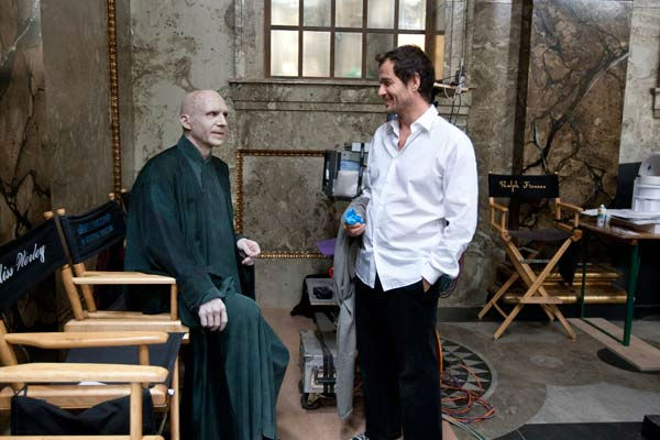 Ralph Fiennes and producer David Heyman on the set of the 2011 film &#39;Harry Potter and the Deathly Hallows - Part 2.&#39; <span class=meta>(Warner Bros. Pictures)</span>