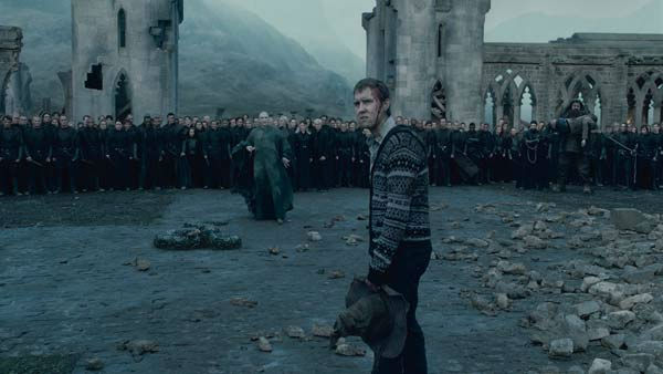 Neville Longbottom &#40;Matthew Lewis&#41; and Lord Voldemort &#40;Ralph Fiennes&#41; and his Death Eaters appear in a scene from the 2011 film &#39;Harry Potter and the Deathly Hallows - Part 2.&#39; <span class=meta>(Warner Bros. Pictures)</span>