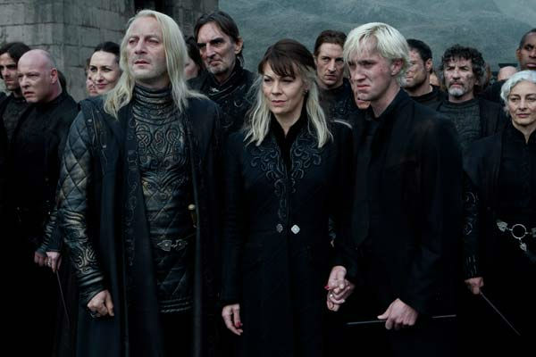 Lucius Malfoy &#40;Jason Isaacs&#41;, Narcissa Malfoy &#40;Helen McCrory&#41; and Draco Malfoy &#40;Tom Felton&#41; appear in a scene from the 2011 film &#39;Harry Potter and the Deathly Hallows - Part 2.&#39; <span class=meta>(Warner Bros. Pictures)</span>