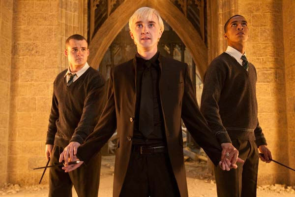 Gregory Goyle &#40;Josh Herdman&#41;, Draco Malfoy &#40;Tom Felton&#41; and Blaise Zambini &#40;Louis Cordice&#41; appear in a scene from the 2011 film &#39;Harry Potter and the Deathly Hallows - Part 2.&#39; <span class=meta>(Warner Bros. Pictures)</span>