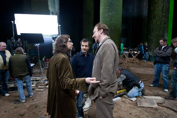 Gary Oldman, producer David Heyman and David Thewlis on the set of the 2011 film &#39;Harry Potter and the Deathly Hallows - Part 2.&#39; <span class=meta>(Warner Bros. Pictures)</span>