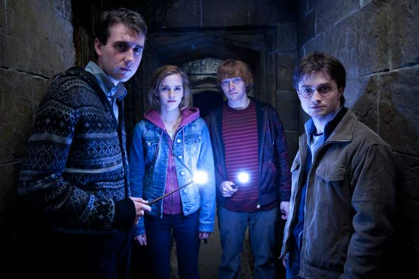 Neville Longbottom &#40;Matthew Lewis&#41;, Hermione Granger &#40;Emma Watson&#41;, Ron Weasley &#40;Rupert Grint&#41; and Harry Potter &#40;Daniel Radcliffe&#41; appear in a scene from the 2011 film &#39;Harry Potter and the Deathly Hallows - Part 2.&#39; <span class=meta>(Warner Bros. Pictures)</span>