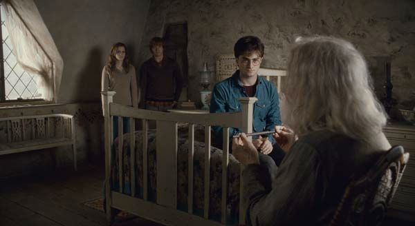 Hermione Granger &#40;Emma Watson&#41;, Ron Weasley &#40;Rupert Grint&#41;, Harry Potter &#40;Daniel Radcliffe&#41; and Ollivander &#40;John Hurt&#41; appear in a scene from the 2011 film &#39;Harry Potter and the Deathly Hallows - Part 2.&#39; <span class=meta>(Warner Bros. Pictures)</span>