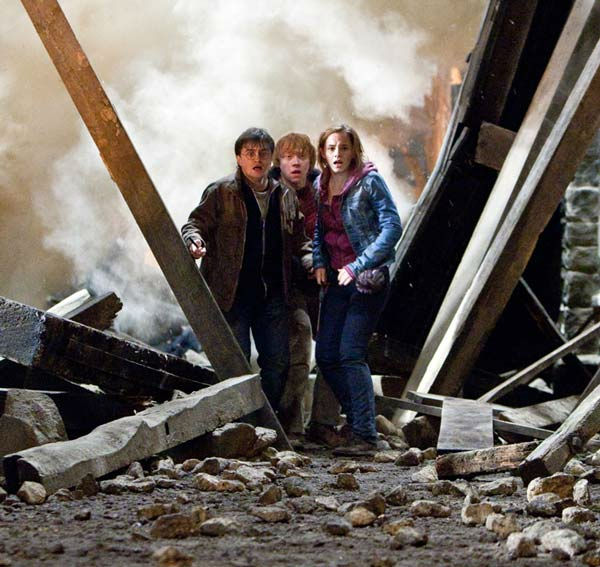 Harry Potter (Daniel Radcliffe), Ron Weasley (Rupert Grint) and Hermione Granger (Emma Watson) appear in a scene from the 2011 film 'Harry Potter and the Deathly Hallows - Part 2.'