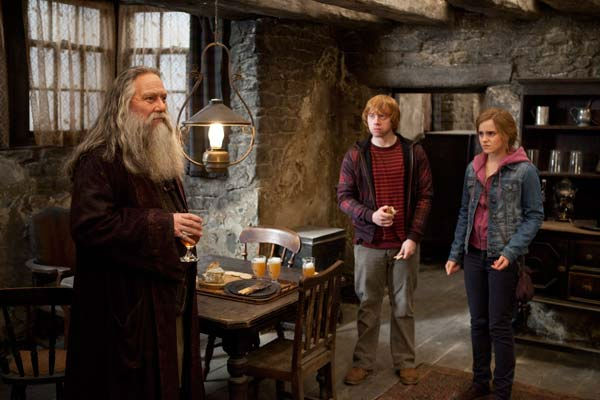 Aberforth Dumbledore &#40;Ciaran Hinds&#41;, Ron Weasley &#40;Rupert Grint&#41; and Hermione Granger &#40;Emma Watson&#41; appear in a scene from the 2011 film &#39;Harry Potter and the Deathly Hallows - Part 2.&#39; <span class=meta>(Warner Bros. Pictures)</span>