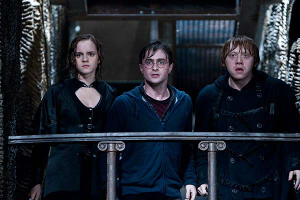 Hermione Granger (Emma Watson), Harry Potter (Daniel Radcliffe) and Ron Weasley (Rupert Grint) appear in a scene from the 2011 film 'Harry Potter and the Deathly Hallows - Part 2.'