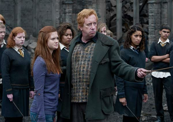 Ginny Weasley &#40;Bonnie Wright&#41; and Arthur Weasley &#40;Mark Williams&#41; appear in a scene from the 2011 film &#39;Harry Potter and the Deathly Hallows - Part 2.&#39; <span class=meta>(Warner Bros. Pictures)</span>