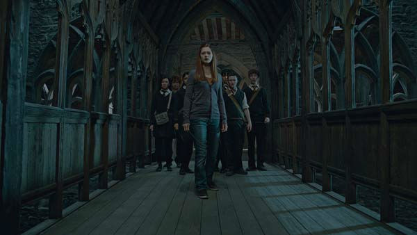 Ginny Weasley (Bonnie Wright) and Hogwarts students appear in a scene from the 2011 film 'Harry Potter and the Deathly Hallows - Part 2.'