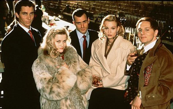 Forbes magazine estimated Witherspoon&#39;s earnings in 2007 to be around &#36;7 million, she earns between &#36;15 and &#36;20 million per film now, according to the Hollywood Reporter. &#40;Pictured: Christian Bale, Reese Witherspoon, Justin Theroux, Samantha Mathis and Matt Ross appear in a still from their 2000 film, &#39;American Psycho.&#39;&#41; <span class=meta>(Universal Studios)</span>