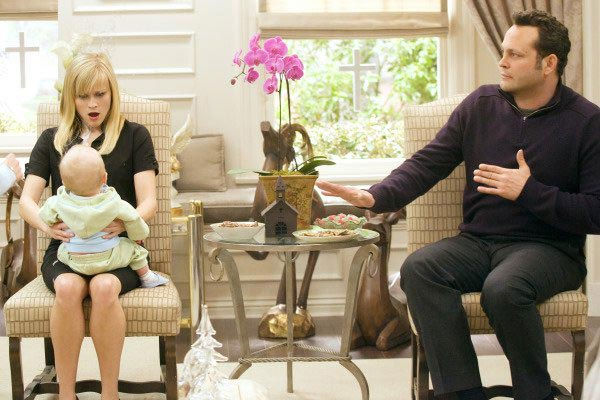 Reese has said that her first child Ava, who was born when she was 23, was the first baby she ever held in her life. &#40;Pictured: Reese Witherspoon and Vince Vaughn appear in a still from their 2008 film, &#39;Four Christmases.&#39;&#41; <span class=meta>(New Line Cinema)</span>