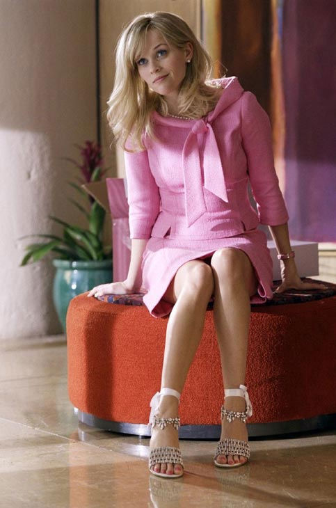 Shoe designer Jimmy Choo made 63 pairs of shoes out of man-made materials for &#39;Legally Blonde 2: Red, White and Blonde,&#39; in order to be animal-friendly. Witherspoon asked to keep all of the shoes and designer clothing she wore in the film. &#40;Pictured: Reese Witherspoon appears in a still from her 2003 film, &#39;Legally Blonde 2: Red, White and Blonde.&#39;&#41; <span class=meta>(MGM)</span>