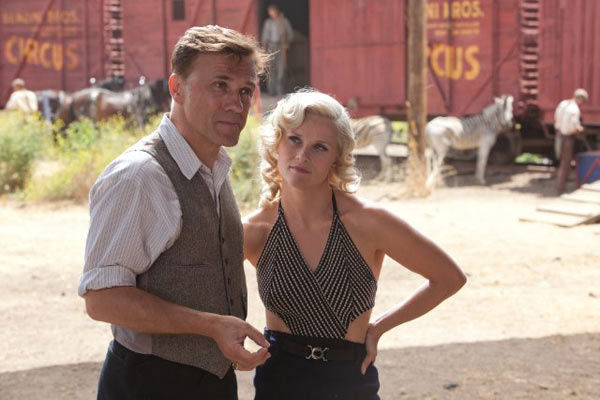 Scarlett Johansson turned down the role of Marlena in &#39;Water for Elephants,&#39; which Witherspoon accepted. &#40;Pictured: Christoph Waltz and Reese Witherspoon appear in a still from their 2011 film, &#39;Water for Elephants.&#39;&#41; <span class=meta>(Twentieth Century Fox)</span>