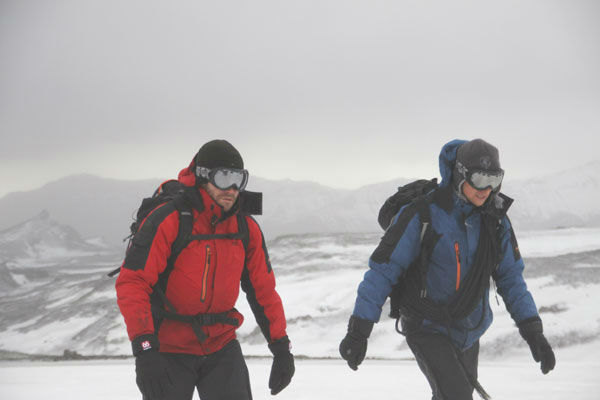 Jake Gyllenhaal appears with Bear Grylls in an episode of &#39;Man Vs. Wild&#39; in Iceland. The episode is set to air July 11, at 9 p.m. on the Discovery Channel.  <span class=meta>(Discovery Communications)</span>