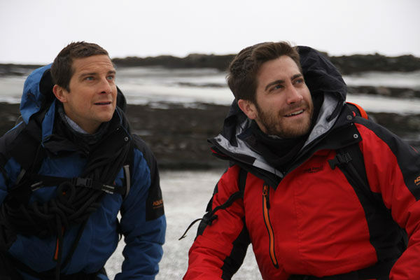 Jake Gyllenhaal appears with Bear Grylls in an...