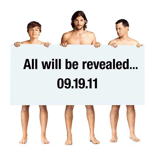 Ashton Kutcher, Jon Cryer and Angus T. Jones appear in a promotional photo for 'Two and a Half Men.'
