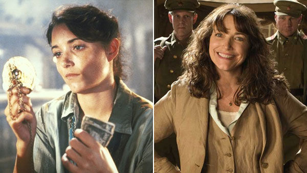 (Pictured: Karen Allen appears as Marion Ravenwood in the 1981 movie 'Raiders of the Lost Ark.' / Karen Allen reprises her role as Marion Ravenwood  the 2008 movie 'Indiana Jones and the Kingdom of the Crystal Skull.')