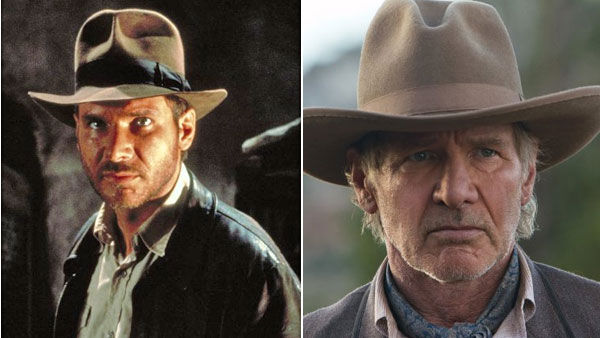 (Pictured: Harrison Ford appears as Indiana Jones in the 1981 movie 'Raiders of the Lost Ark.' / Harrison Ford appears in a scene as Colonel Woodrow Dolarhyde from the 2011 film 'Cowboys & Aliens')
